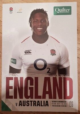 England v Australia Rugby Union Programme 24/11/2018 Twickenham Quilter 2018 New