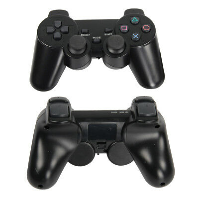 2PCS Black Dual Shock WIRELESS Controller Joypad Gamepad For Sony PS2 UK Local