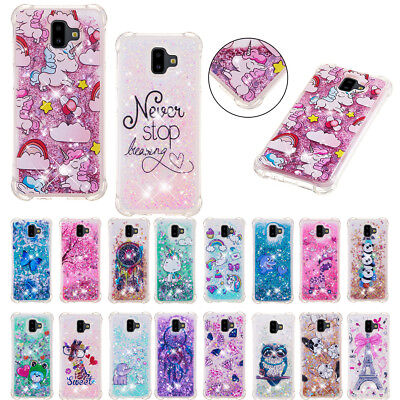 For Samsung Galaxy J4 J6 PLus A7 2018 S9 Glitter Liquid Quicksand TPU Case Cover