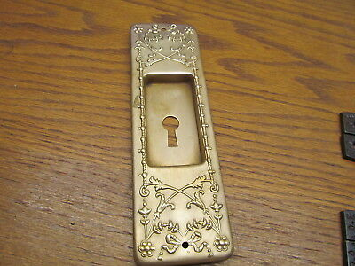 Old Stamped Brass ? Bronze ? Pocket Door...french Door Double Door Escutcheon