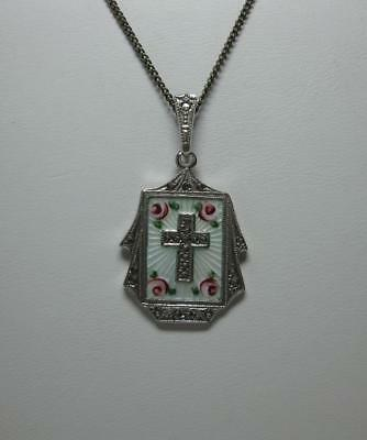 Edwardian Cross Necklace Sterling Silver Enamel Roses Marcasite Victorian Deco