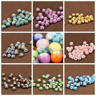 Wholesale 6/10/14mm Round Ceramic Loose Spacer Colorized Beads Craft Findings