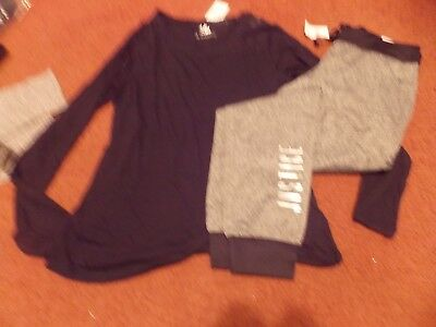 justice girls size -14/16----2 piece black top and warm gray gear joggers--nwt
