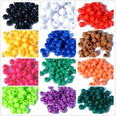 100pcs 10mm Round Acrylic Loose Spacer Large Hole Beads Jewelry Findings Marking