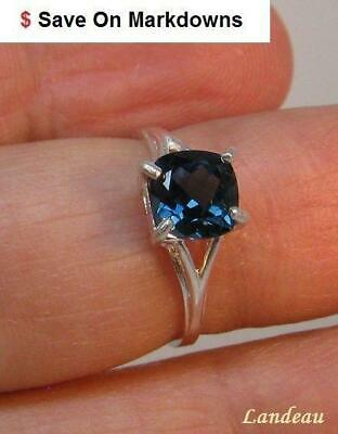 1.95 ct NATURAL LONDON BLUE TOPAZ SILVER RING