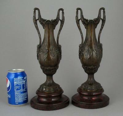 """Pair Antique French Art Nouveau Bronzed Spelter Urn Twin Handled Vases 12 1/2"""""""