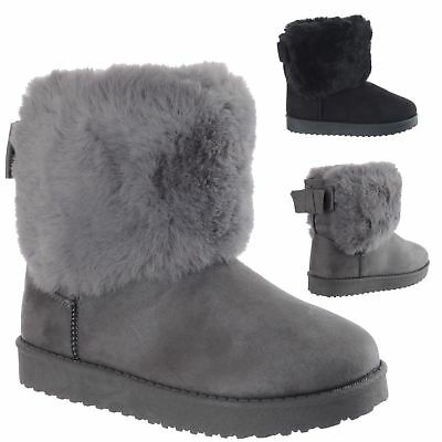 Girls Kids Childrens Winter Warm Faux Fur Slip On Fashion Ankle Boots Shoes Size