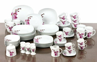 62 Piece Dinner Set White Floral Porcelain Tableware Dinnerware Service For 6