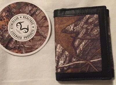 db5deaa18bfb MENS CAMO REALTREE Canvas And 100% Genuine Leather Black Brown Trifold ID  Wallet