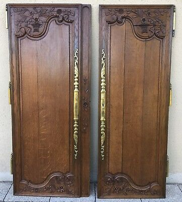 Antique French Beautiful Carved Armoire Doors Architectural Salvage Reclaimed