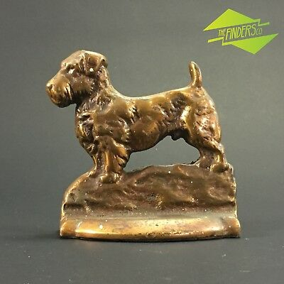 Antique Solid Bronze Scotty Dog Highland Terrier Dog Book End Door Stop