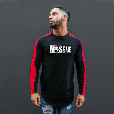 Men Running Muscle Long Sleeves Compression Shirts Bodybuilding Workout Apparel