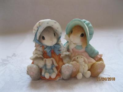 "NIB My Blushing Bunnies Enesco "" Blessings Multiply When Shared "" Double Figure"