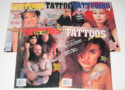 Lot Of 5 Outlaw Biker Tattoo Magazines Tattooing By Women Tattoos Men 1991 1993