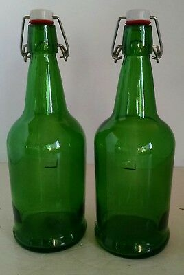 "2 Emerald Green Bottles Jars Vases With Attached Stoppers 11"" Tall Vintage"
