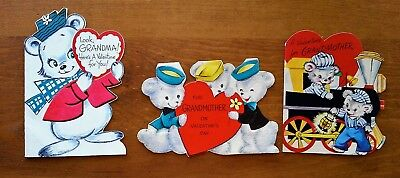 Vintage Valentine's Day Cards 1940's Grandmother Grandma Used Bears Lot of 3