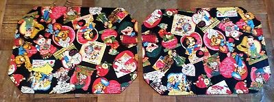 Vintage Valentine Fabric Placemats Lot of 2 Little Boy Girl Dog Cat Bear Cards