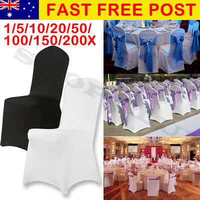1-200 Black White Chair Covers Seat Cover Spandex Lycra Stretch Banquet Wedding