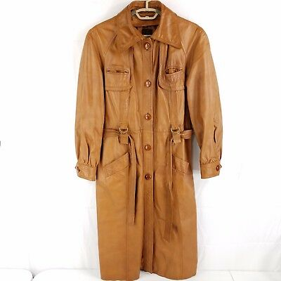 ecb25464f VINTAGE 70'S BROWN LEATHER BELTED TRENCH COAT - LARGE COLLAR - SMALL ...
