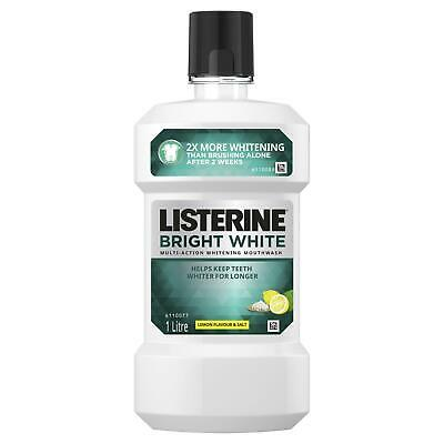 Listerine Bright White With Lemon Flavour + Salt Mouthwash 1 Litre
