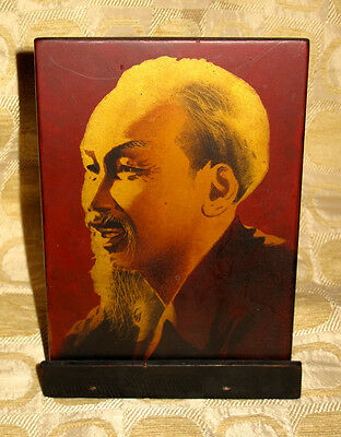 Vintage 1970s Vietnam HO CHI MINH Portrait with Wood Stand VG++
