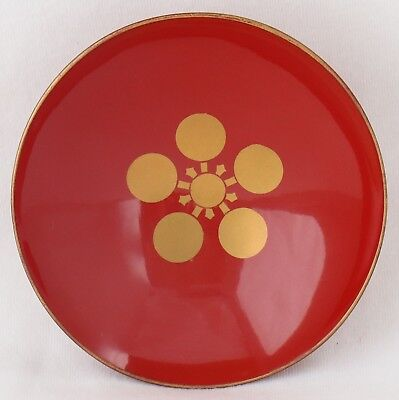 Japanese Lacquer Sake Cup Wood Vintage Red Gold Plum Shinto Shrine