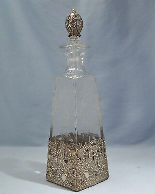 Antique German Cut & Etched Glass Decanter Sterling Silver mounts Circa 1900