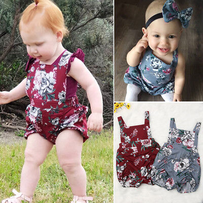AU Baby Girls Infant Flower One-Pieces Romper Bodysuit Jumpsuit Outfits Sunsuit