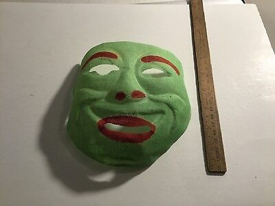 1930s? Green Witch Face Vintage Halloween Gauze Cloth MASK