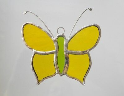 Leadlight Stained Glass Butterfly yellow green Decoration handmade in Australia