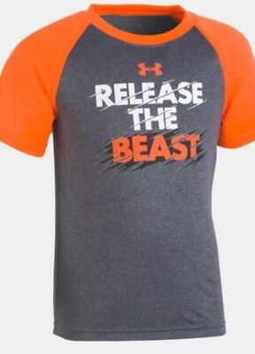 Infant Boys Under Armour Shirt Size 18M, Orange With Gray- Release The Beast-NWT