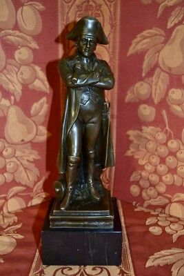 Magnificent 19C French Bronze Statue Of Napoleon On A Marble Stand