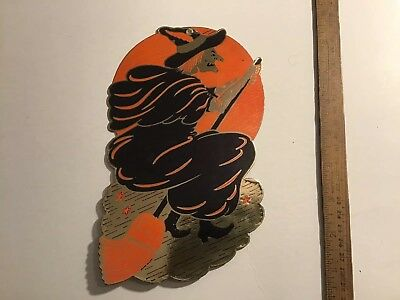 Witch Flying On Her Broom Vintage Halloween Decoration 1950s? FREE SHIPPING