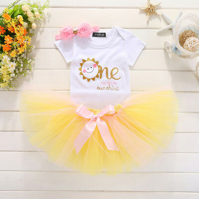 AU Baby Girl My 1st Birthday Tops Romper Tutu Dress Skirt 2PCS Outfits Clothes