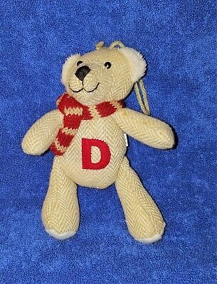 """CUTE STUFFED CHRISTMAS BEAR 6"""" ORNAMENT with the Letter """"D"""" on front - 6"""""""