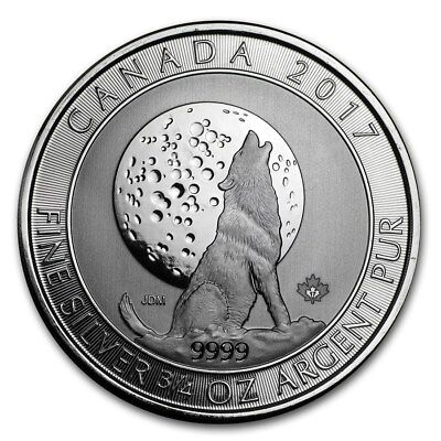 Canada - 2 Dollars ($2) - 2017 - Canadian Howling Wolves - Moon Wolf - Ag 9999
