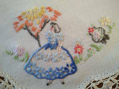 Sweet Crinoline Lady & Tree/flowers  -  Vintage Hand embroidered Doily