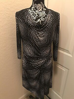 ECI NY Dress, Maxi Long, 3/4 Sleeve Geometric Print Ruched Side, SZ:14, PREOWNED