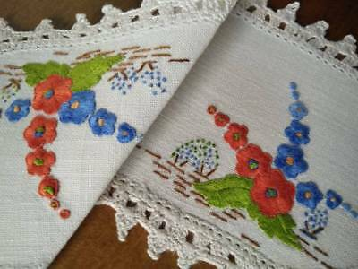 Gorgeous Hollyhocks ~ Vintage Hand embroidered Sandwich doily