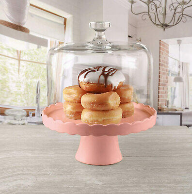 Circleware Torta Mia Rosa Ceramic Cake Plate with Glass Dome, Pink, 10.5x13 Inch