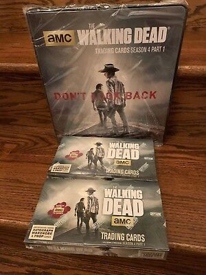 TWO Cryptozoic Walking Dead Season 4 Part 1 Trading Card HOBBY Boxes + Binder