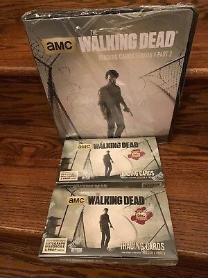 TWO Cryptozoic Walking Dead Season 4 Part 2 Trading Card HOBBY Boxes + Binder