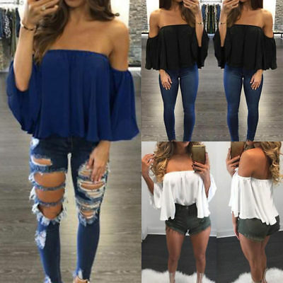 Fashion Women Off Shoulder Crop Top Long Sleeve Shirt Blouse Sweater T-shirt