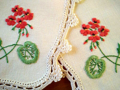 Pair - Sweet Red Geraniums  ~ Vintage Hand Embroidered Doilies
