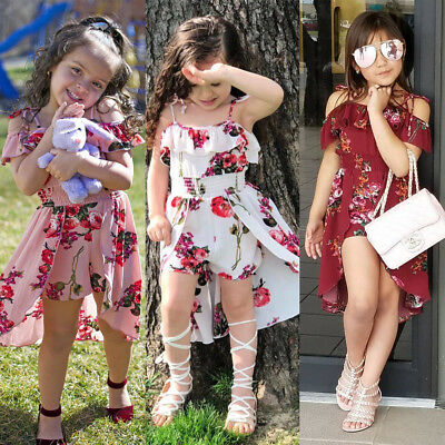 Toddler Kids Baby Girls Dovetail Dress Rompers Jumpsuits Playsuit Trousers 1-5T
