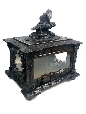 Antique Black Forest Glass Decanter Display Box / Bird Figurine / Victorian Wood