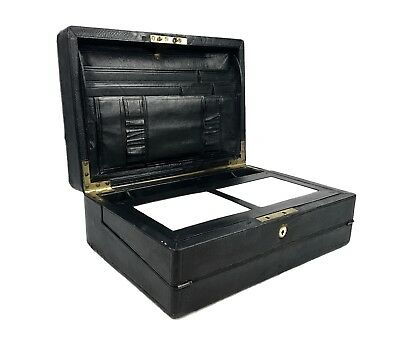 Victorian Campaign Box / Leather Bound Stationary Writing Slope / With Key