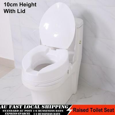 Max Mobility 10cm Raised Toilet Seat with Lid - Resistant to stains & odors