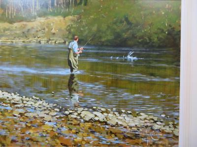 JOHN HASKINS (1938-) Original signed LARGE OIL PAINTING  Fly Fishing For Trout