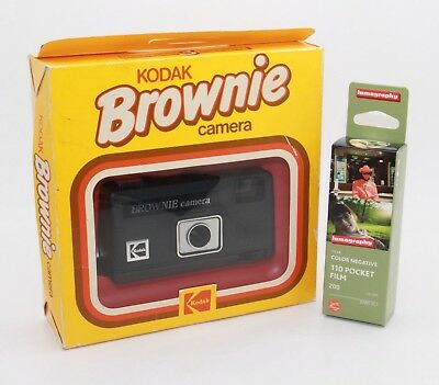 Kodak Brownie 110 Film Camera with brand-new Lomography film and box: VGC/Tested